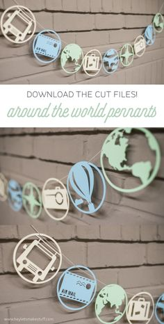 Cut files for Around the World Pennants—can be cut on a Cricut Explore or Silhouette Cameo! {pinned more than 1k times!}