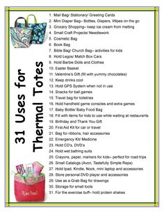 Thirty One Bag Ideas | 31 Uses for Thermal Totes. Mythirtyone.com/rebeccagutov or check out beckys bundles of bags on facebook, please email me at rgutovs31bags@gmail.com