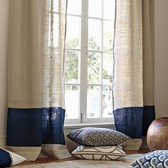 Ronan Bedding for Boys Rooms | Serena & Lily    burlap curtains with the color block???