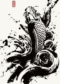 鵺|墨絵師御歌頭(okazu)まとめサイト Koi Fish Drawing, Koi Fish Tattoo, Japanese Drawings, Japanese Art, Tattoo Japonais, Gravure Laser, Samurai Artwork, Japanese Illustration, Ink Painting