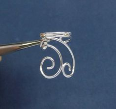 925 Sterling Silver Swirl Ear Cuff Swirl Ring Cuff by Cartilage Ring, Piercing, Ear Jacket, Sterling Silver Hoops, Swirls, Clip On Earrings, Chains, Jewlery, Cuffs