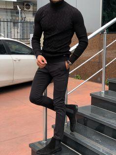 GentWith Marina Black Slim Fit Turtleneck Sweater – Gent With - Mode für Frauen Hipster Outfits Men, Summer Outfits Men, Stylish Mens Outfits, Summer Men, Men's Casual Outfits, Mens Sweater Outfits, Winter Boots Outfits, Hipster Sweater, Teen Outfits