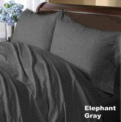 800 TC Deluxe Ultra Soft Silky 100% Egyptian cotton Luxurious Duvet Cover 800 THREADS Queen Elephant grey Stripe by pearlbedding, $89.99