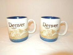 Starbucks Mugs Denver Lot of 2 Collector's Series 2009 Blue & White 16 fl. oz. #Starbucks