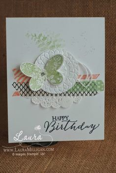 Butterfly Basics, Bundle, Stampin' Up!, DIY Cards, Sweet Sadie Washi Tape, order supplies to create this card at www.lauramilligan.com