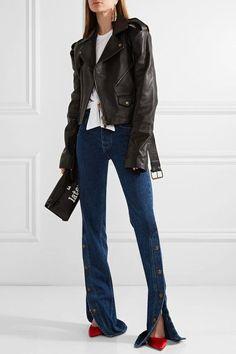 Y/PROJECT - Cutout Leather Biker Jacket - Black
