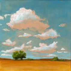 Oak Trees and Big Sky  - 8x8 PRINT of Original Landscape Painting Clouds and Sky Summer Farmland
