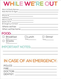 babysitting information sheet printable | Printable babysitter notes from www.thirtyhandmadedays.com