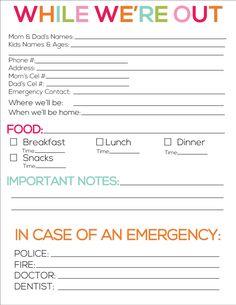 Printable babysitter notes from www.thirtyhandmadedays.com