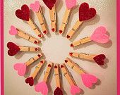 Clothespins (Magnets) with Sparkly Hearts for Valentine's Day (SET OF 6) Card Holders, table place cards, etc