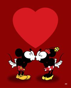 Valentine Mickey and Minnie Kiss 8 by 10 Print by JasmineVictoria, $10.00