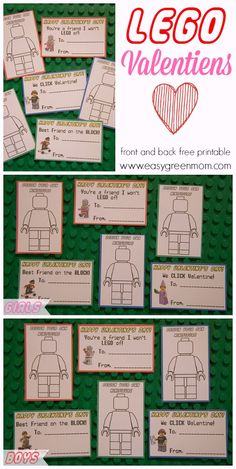 Lego Valentines front and back Free Printable from Easy Green Mom