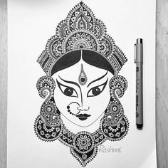 Goddess Durga is the mother of the universe and beloved to be the power behind cre - rkrishnappa_ Arte Ganesha, Ganesha Sketch, Mandala Art Lesson, Mandala Artwork, Doodle Art Drawing, Mandala Drawing, Art Drawings Sketches Simple, Pencil Art Drawings, Drawing Tutorials