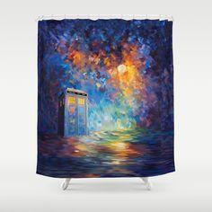 Tardis Doctor Who Rainbow Abstract Art Shower Curtain #ShowerCurtain  #society6 #Painting #Acrylic
