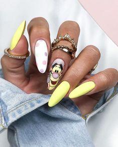 Cartoon Nail Designs, Disney Nail Designs, Cute Nail Art Designs, Acrylic Nail Designs, Bling Nails, Neon Nails, Dope Nails, Swag Nails, Disney Acrylic Nails