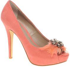 Asos Asos Primrose Feather Jewel Peep Toe Court Shoes in Pink (coral)