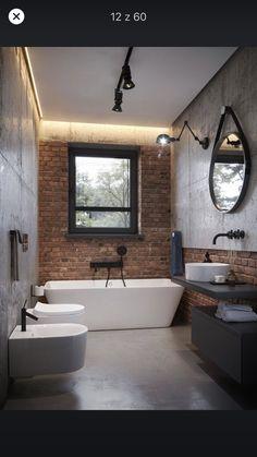 Home Decor For Small Spaces Miarodajny - wariant I.Home Decor For Small Spaces Miarodajny - wariant I Bathroom Design Small, Bathroom Interior Design, Modern Bathroom, Design Kitchen, Brick Bathroom, Tiny House Bathroom, Brick Interior, Toilet Design, Loft Style