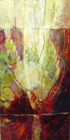 "Thirsting 24"" x 48"" encaustic on panel Grace Carol Bomer 