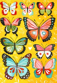 art for children's room, primitive bugs, butterflies, caterpillars in vivid colors