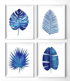 Discover recipes, home ideas, style inspiration and other ideas to try. Vintage Botanical Prints, Botanical Wall Art, Wal Art, Leaf Drawing, Fig Drawing, Watercolor Leaves, Blue Art, Wall Art Sets, Leaf Prints