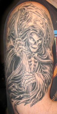 Black And Grey Death Grim Reaper Tattoo On Right Half Sleeve