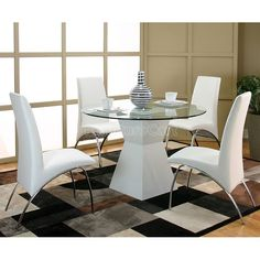 Virgo White Table Base Dinette w/ White Mensa Chairs