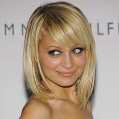 Nicole Richie Blonde Bob Long Wavy Haircut With Bangs