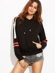 Black Print Hooded Long Sleeve Sweatshirt