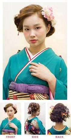 正面はレトロモダンでねじって仕上げているのですが、後ろではフィッシュボーンでの編みこみでボリュームを出しています。 Kimono, Disney Princess, Hair, Style, Fashion, Whoville Hair, Moda, Stylus, Kimonos
