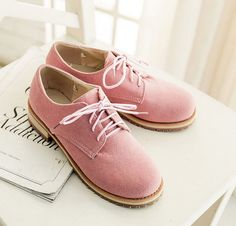 US4-11 Preppy Retro round toe flats lace Up oxfords Faux suede candy shoes women #Unbranded #Oxfords #Casual