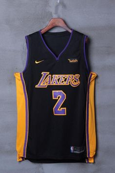 Men #2 Lonzo Ball Jersey Black Los Angeles Lakers Jersey Authentic Player