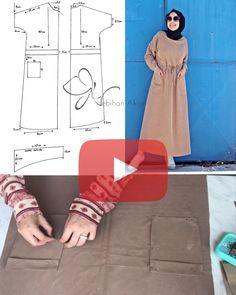 Dress Sewing Patterns, Sewing Patterns Free, Clothing Patterns, Modesty Fashion, Hijab Fashion, Fashion Outfits, Abaya Pattern, Oversized Dress, Diy Dress