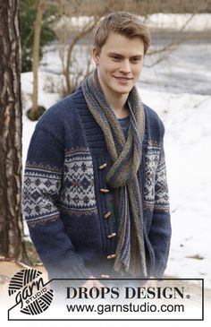 """Knitted DROPS men's jacket with pattern and shawl collar in """"Alaska"""". Size: S - XXXL."""