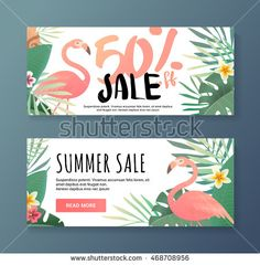 Bright flyer with flamingos. Sale banner template and special offer. 50 off. Vector illustration. The flyer can be used for a beauty salon, a clothing store, cosmetics. Web banner for the shop. (Beauty Design Salon)