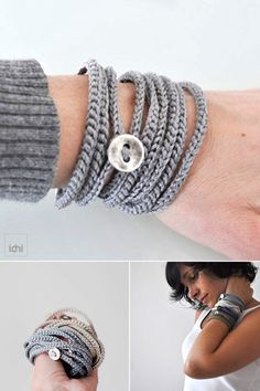 Crochet wrap Bracelet and Necklace in one piece. Wrapped bracelet. Silver color . Coiled Bracelet. Threaded Bracelet. Textile Jewelry. Simple, beautiful