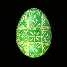 Pysanky Ukrainian Easter Egg Green Fish Hand by JustEggsquisite, $24.00