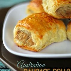 Australian Sausage Rolls: These Sausage Rolls make a yummy and easy appetizer or meal! They are really popular in Australia and Europe. They are commonly served for breakfast and lunch and many times as an appetizer, just cut a little smaller. Aussie Food, Australian Food, Australian Recipes, Tapas, Finger Food Appetizers, Appetizer Recipes, Puffed Pastry Appetizers, Recipes Dinner, Dinner Ideas