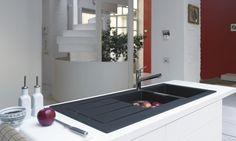 évier sous meuble design avec 1 ou 1 cuve et demi, texture imperméable Franke Sirius Tectonite