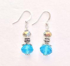 Teal & Champagne Crystal Dangling Earrings with Silver Spacer Beads, Elegant Earrings, Blue Crystal Dangle Earrings Earings