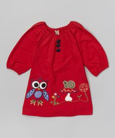 Look what I found on #zulily! Red Owl & Snail Appliqué Puff-Sleeve Dress - Toddler & Girls #zulilyfinds