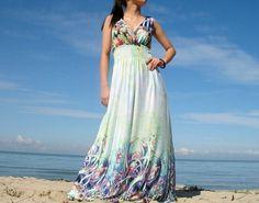 Romance Long Maxi Dress Bridesmaid Dress/ Green by myuniverse, $38.00