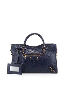 BALENCIAGA Giant 12 City Lambskin Satchel Bag, Dark Blue. #balenciaga #bags #shoulder bags #hand bags #leather #satchel #lining #