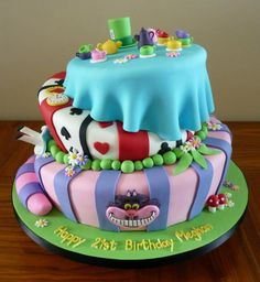 Mad Hatter topsy turvy 21st cake
