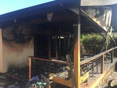 The back deck of the Watsonia house that sustained $250,000 worth of damage following a blaze this morning.