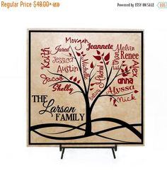 EASTER SALE  Custom Family Tree Sign Personalized with Names