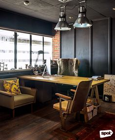 The Space Encounters office showcases consistent branding, a refined take on mid-century design through finishes and furniture, and thoughtful details. Cool Office, Mid Century Design, Manila, Corner Desk, Ph, My Design, Cool Stuff, Space, Table