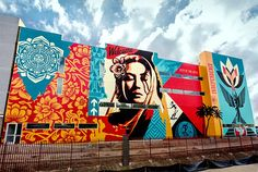 A completed view of Shepard Fairey's latest mural, located at the Baker Block Apartments in Costa Mesa, CA, USA #streetart
