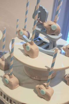 Cute cake pops at an elephant baby shower party! See more party ideas at CatchMyParty.com!