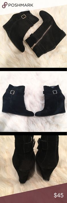 Vince Camuto dena black suede wedge booties Inside zipper. Entire boot is in beautiful condition and all suede. Vince Camuto Shoes Ankle Boots & Booties