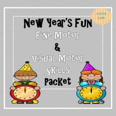 New Year's Fun Fine Motor and Visual Motor Skills Packet (Spanish and English) Visual Perceptual Activities, Motor Activities, Preschool Activities, Prewriting Skills, Pre Writing, Coloring For Kids, Motor Skills, Fine Motor, Teaching Ideas